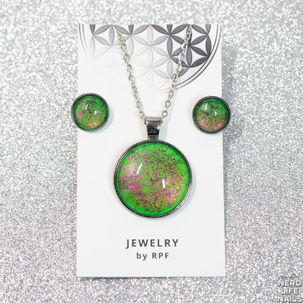 Jewelry By RPF - GITD Lime Green Necklace or Necklace and Earring Set based on Centipede