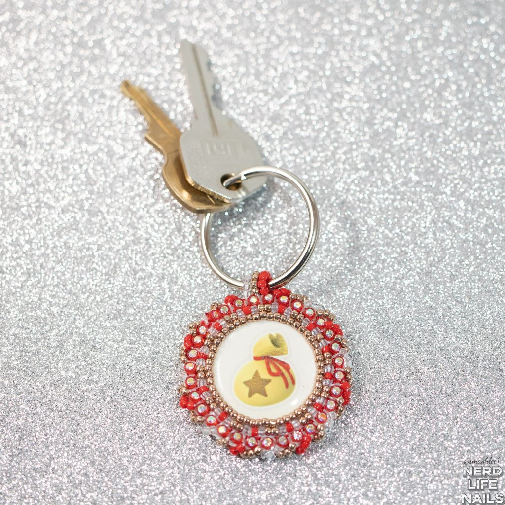 Leesha's Lacquer/Waabooz Beading - Beaded Coin Bag Keychain